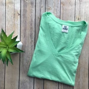 3/$20 PINK by Victoria's Secret Green V-Neck Tee